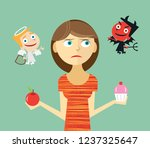 woman tempted to break diet and ...   Shutterstock .eps vector #1237325647