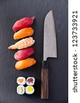 Small photo of sushi with santoku knife