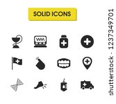 medical icons set with pill...