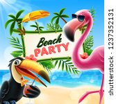 beach party illustration with... | Shutterstock .eps vector #1237352131