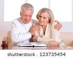 happy beautiful elderly couple... | Shutterstock . vector #123735454