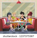 group of cartoon teenagers... | Shutterstock .eps vector #1237375387