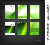 Green vector brochure / booklet cover design templates collection - stock vector