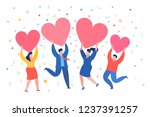 mini people with red hearts in... | Shutterstock .eps vector #1237391257