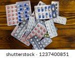 different pills in blister pack ...   Shutterstock . vector #1237400851
