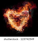 Water And Fire Heart Shape On...
