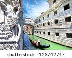 Venice   Gondolas Passing Over...
