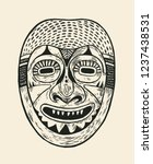 tribal mask design. drawing...   Shutterstock .eps vector #1237438531