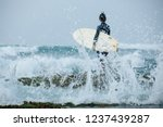Woman Surfer With Surfboard...