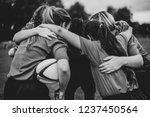 young female rugby players... | Shutterstock . vector #1237450564