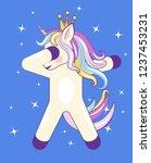 dabbing cute unicorn with stars ... | Shutterstock .eps vector #1237453231