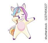 dabbing cute unicorn on white... | Shutterstock .eps vector #1237454227