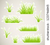 fragment of paper green grass.... | Shutterstock .eps vector #123746845
