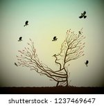 alive tree on the rock and... | Shutterstock .eps vector #1237469647