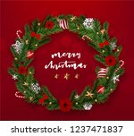 realistic merry christmas... | Shutterstock .eps vector #1237471837