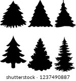 shadow of green christmas trees ... | Shutterstock .eps vector #1237490887
