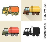 tank truck icon set in flat and ... | Shutterstock .eps vector #1237495351