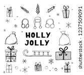 hand drawn set of christmas... | Shutterstock .eps vector #1237509091