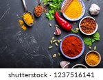 set of indian food cooking... | Shutterstock . vector #1237516141