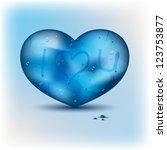 blue heart shape with water...   Shutterstock .eps vector #123753877