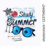 summer slogan with palm beach... | Shutterstock .eps vector #1237540447