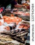 fish market  fresh fish in... | Shutterstock . vector #1237542484
