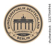 stamp with brandenburg gate and ... | Shutterstock .eps vector #1237544944