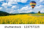 hot air balloon over yellow... | Shutterstock . vector #123757225