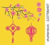 embroidery blossoms  branch of... | Shutterstock .eps vector #1237586407