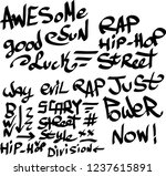 many graffiti tags on a white... | Shutterstock .eps vector #1237615891