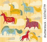 seamless pattern with unicorns | Shutterstock .eps vector #123761779