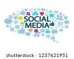 cloud of social media icons... | Shutterstock .eps vector #1237621951