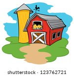 barn and silo | Shutterstock .eps vector #123762721