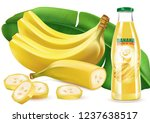banana juice with leaf and... | Shutterstock .eps vector #1237638517