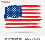 Grunge brush stroke watercolor of American flag, Vector illustration