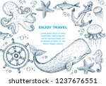sea animals hand drawn... | Shutterstock .eps vector #1237676551