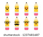 funny pencils with emotions  ... | Shutterstock .eps vector #1237681687