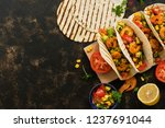 mexican food. homemade tacos... | Shutterstock . vector #1237691044