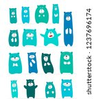 funny bears collection  sketch... | Shutterstock .eps vector #1237696174