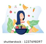 vegetarianism and dieting... | Shutterstock .eps vector #1237698397