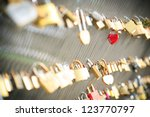 Red Heart Shaped Lock On A...