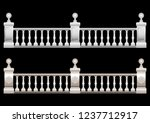 Beautiful Realistic 3d railing with ornament, stucco, marble, stone, Baroque with balls. Vector illustration
