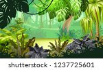 background jungle with palm...   Shutterstock .eps vector #1237725601