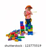 one small little girl wearing... | Shutterstock . vector #123775519