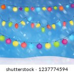 christmas lights background and ... | Shutterstock . vector #1237774594