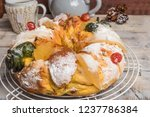 king cake with nuts   bolo rei... | Shutterstock . vector #1237786384