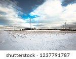 windmills on snow at buffalo ... | Shutterstock . vector #1237791787