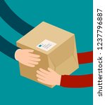 delivery man gives parcel.... | Shutterstock .eps vector #1237796887