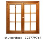 wooden window isolated on white ... | Shutterstock . vector #123779764