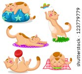 Stock vector set of cats in different positions jpeg available in my gallery 123779779